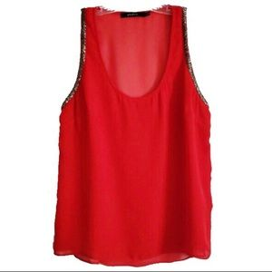 Ark & Co Red Sheer Bead Embellished Tank Top
